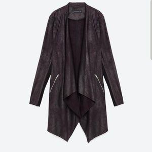 Zara faux suede drape jacket sz S